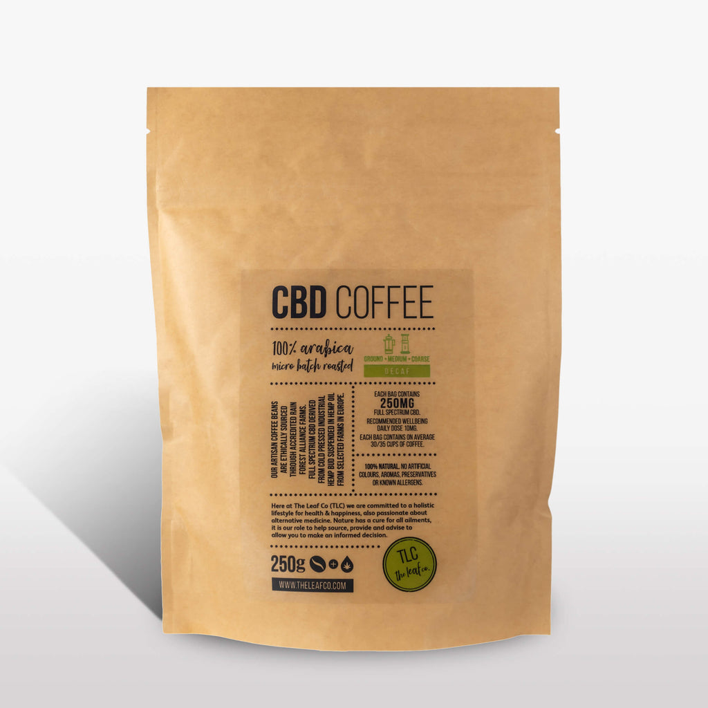 CBD DECAF Coffee - Medium Ground, 250g bag