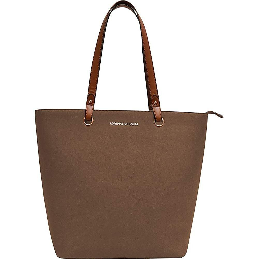 ADRIENNE VITTADINI-Faux Suede Grommet Everyday Laptop Tote by Adrienne Vittadini (Brown)-bags-packs.com