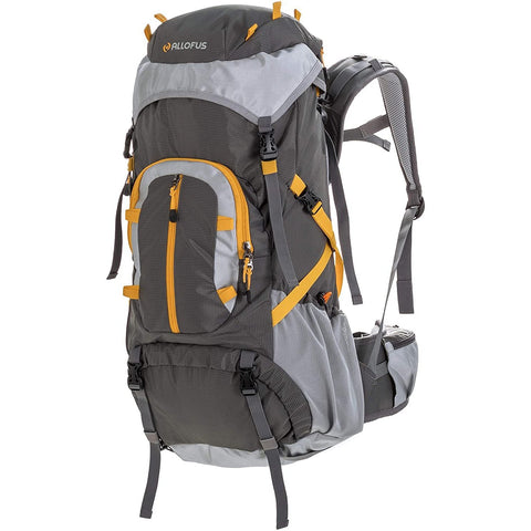 All of Us-All of Us 45 Liter Unisex Internal Frame Hiking and Travel Backpack for Youth and Adults with Waterproof Cover - Grey/Yellow-bags-packs.com
