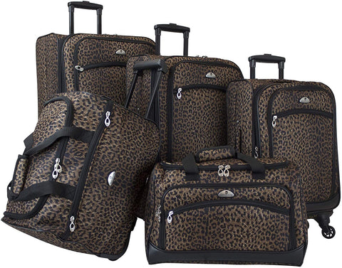 American Flyer-American Flyer Animal Print 5-Piece Spinner Luggage Set, Leopard Black-bags-packs.com