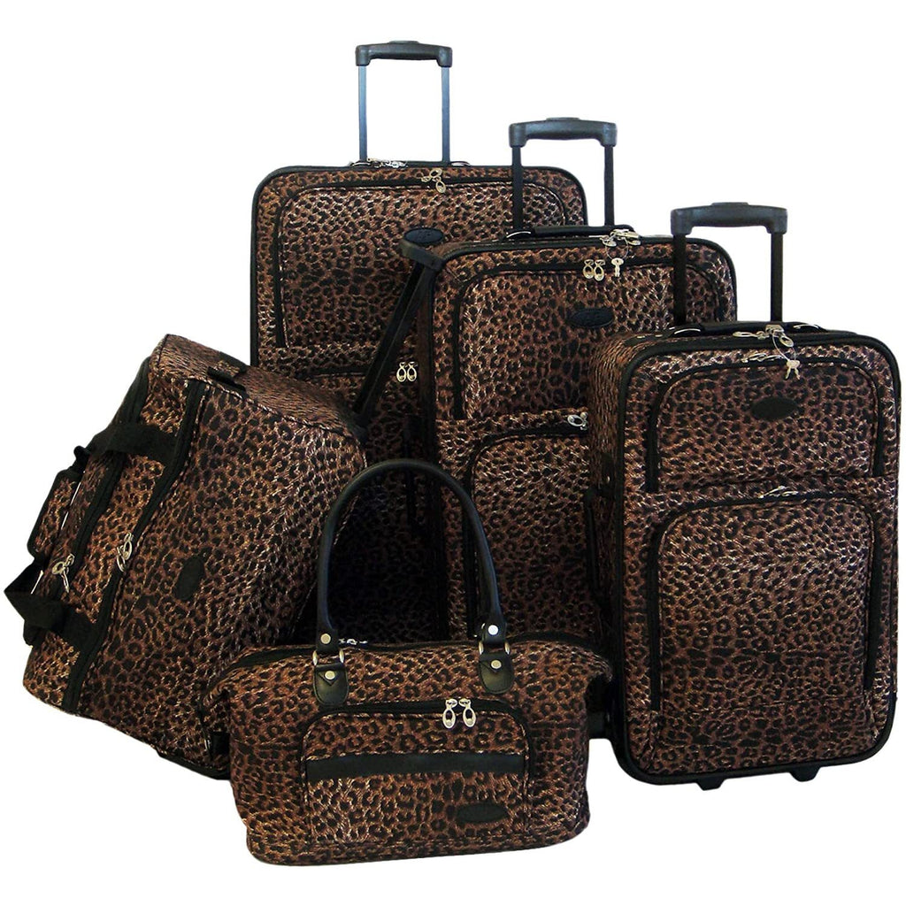 American Flyer-American Flyer Luggage Animal Print 5 Piece Set-bags-packs.com