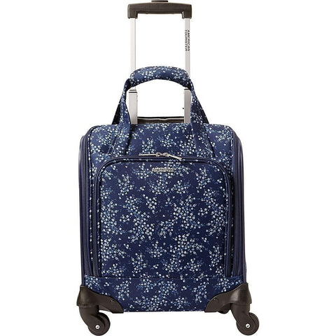 American Tourister-American Tourister Lynnwood 16 Inch Underseat Spinner Carry-On Luggage With Wheels - (Blue Floral)-bags-packs.com