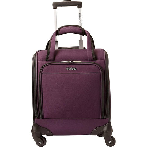 American Tourister-American Tourister Lynnwood 16 Inch Underseat Spinner Carry-On Luggage With Wheels - (Eggplant)-bags-packs.com