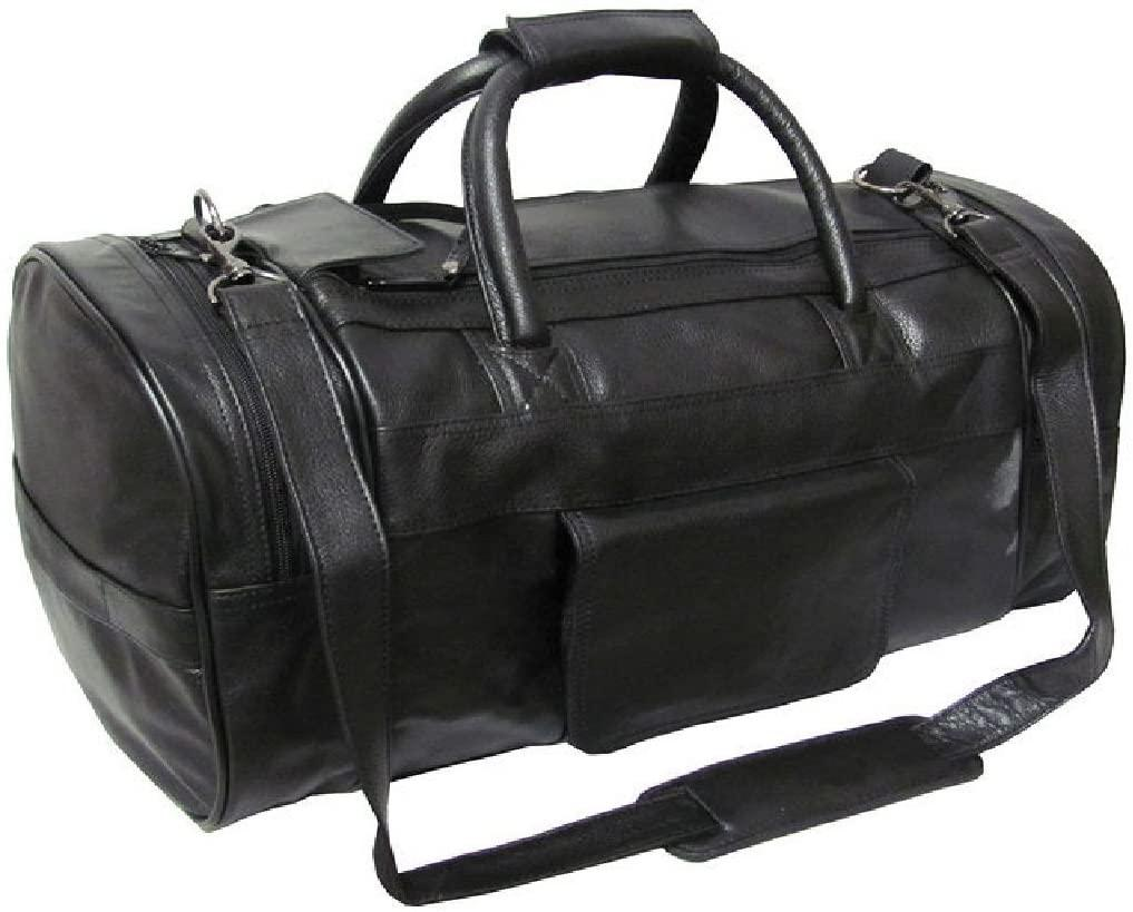 Amerileather Bags-Amerileather Black Leather 20-inch Carry On Dual-Zippered Travel Duffel Bag-bags-packs.com