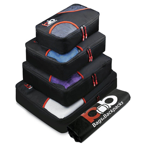 B&B-B&B Travel Packing Cubes Set - 4 Luggage Packing Organizers with Small Laundry Backpack. 3 Colors-bags-packs.com