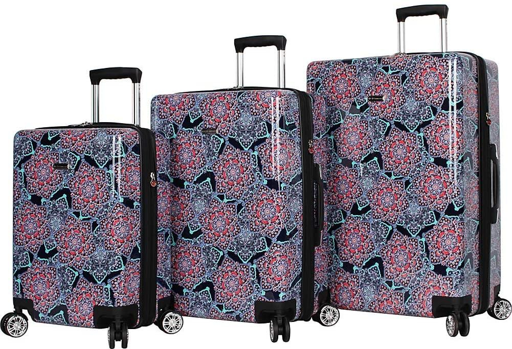 BCBGeneration-BCBG Lotus Medallion 3 Piece Hardside Spinner Luggage Set-bags-packs.com