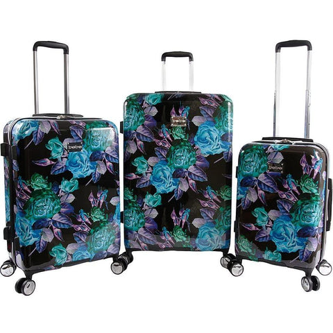 bebe-BeBe Rosette 3 Piece Set Suitcase with Spinner Wheels-bags-packs.com