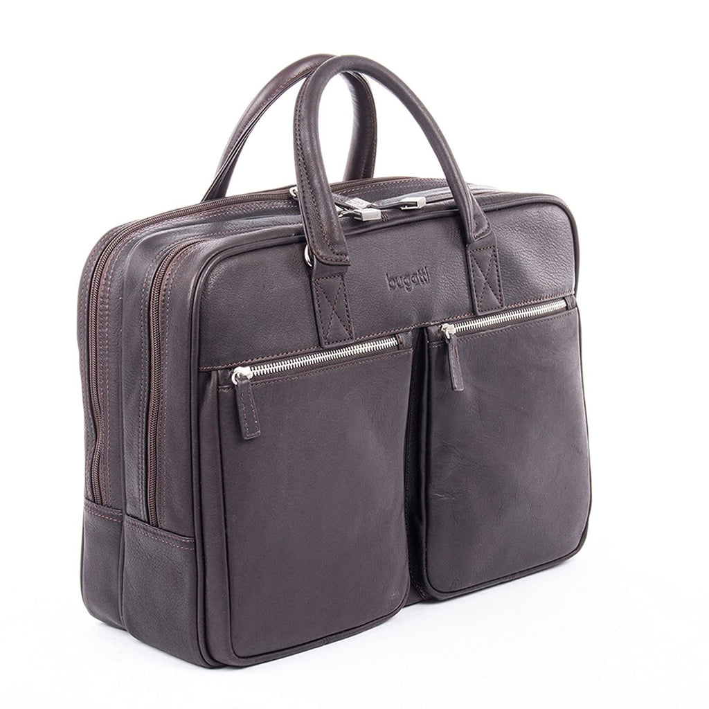 Bugatti-Bugatti Sartoria Zipper Large Leather Briefcase-bags-packs.com