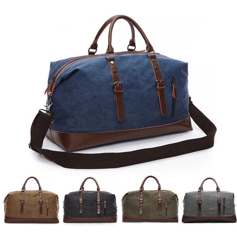 Canvas-Vintage Canvas Travel Bag with Leather Trim for Men-bags-packs.com