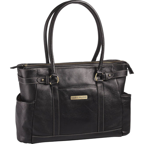"CLARK&MAYFIELD-CLARK & MAYFIELD Hawthorne Leather 17.3"" Laptop Handbag-bags-packs.com"