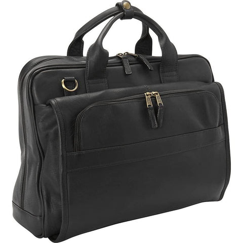 Clava-Clava Leather Top Handle Accordian Brief (Vachetta Black)-bags-packs.com