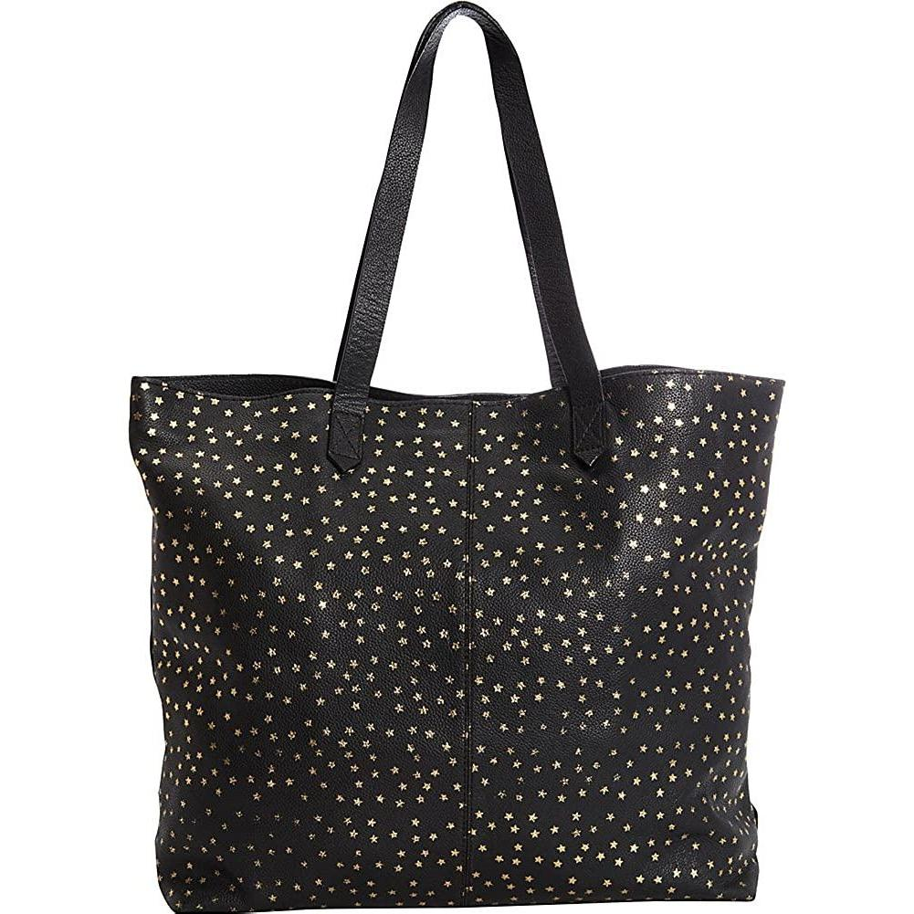 Clava-Clava Leather Tote with Gold Foil Stars (Black with Gold)-bags-packs.com
