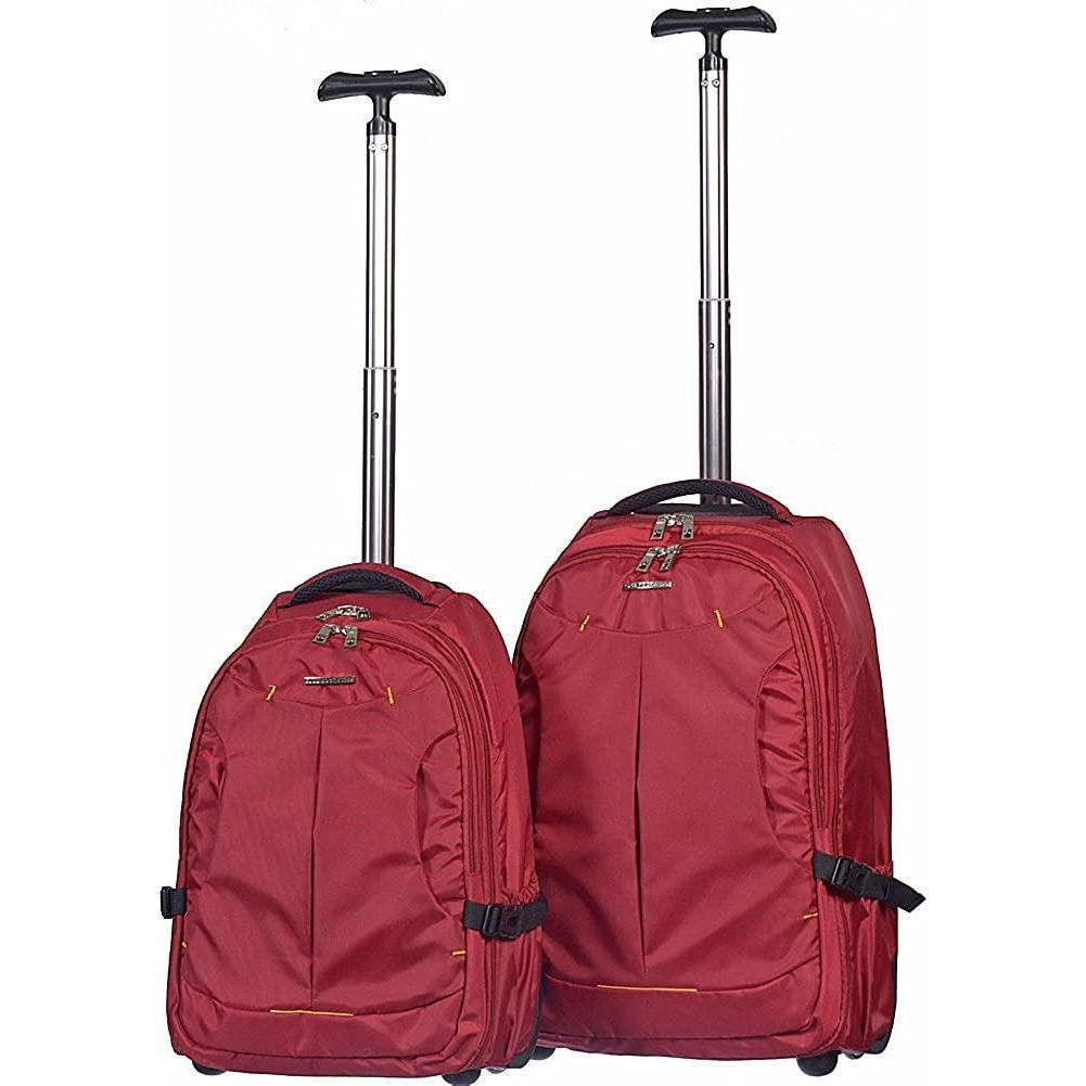 Club Rochelier-Club Rochelier 2 Piece Rolling Trolley Backpack Set (Red Set)-bags-packs.com