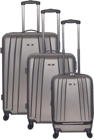 Club Rochelier-Club Rochelier 3pc Globetrotter Hardside Luggage Set (Charcoal)-bags-packs.com