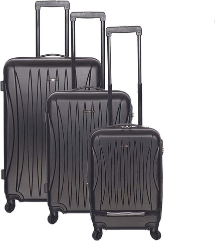 Club Rochelier-Club Rochelier 3pc Traveller Luggage Set (Black)-bags-packs.com