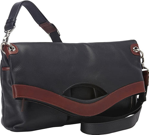 Derek Alexander Leather-Derek Alexander EW Fold Over Top Zip Shoulder Bag-bags-packs.com