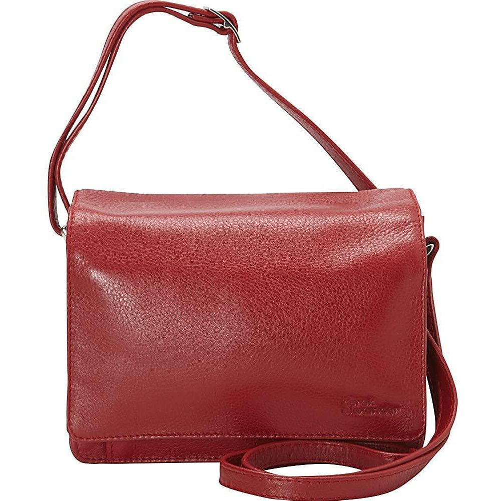 Derek Alexander Leather-Derek Alexander Full Flap Multi Compartment Organizer Shoulder Bag (Red)-bags-packs.com