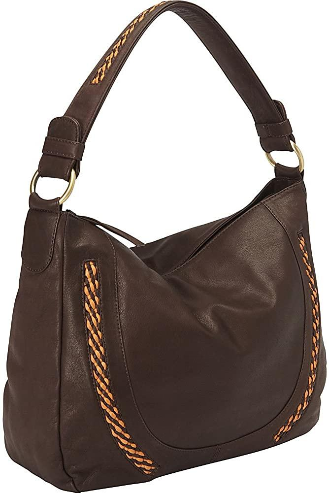 Derek Alexander Leather-Derek Alexander Inset Top Zip Slouch Bag-bags-packs.com