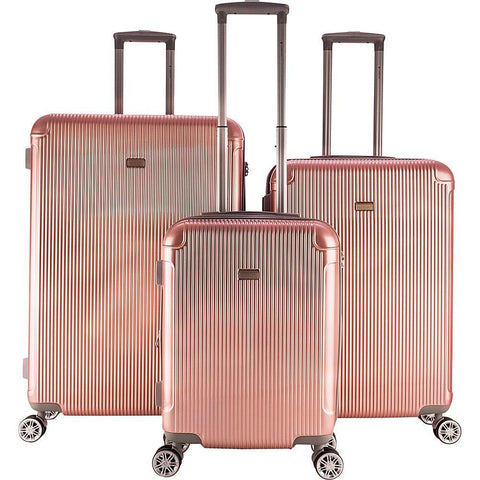 GABBIANO GENOVA-GABBIANO GENOVA 3 Piece Expandable Hardside Spinner Luggage Set (Rose Gold)-bags-packs.com