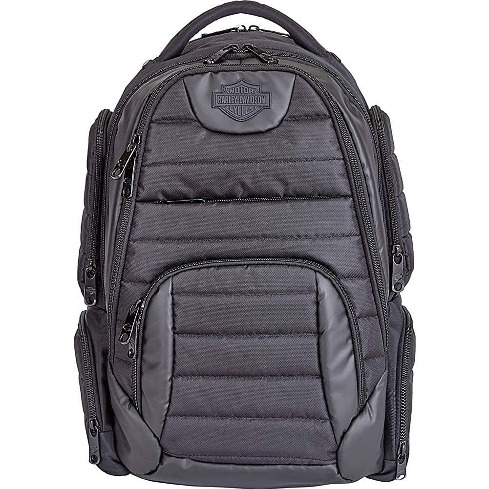 Harley Davidson by Athalon-Harley Davidson by Athalon Quilted Laptop Backpack-bags-packs.com
