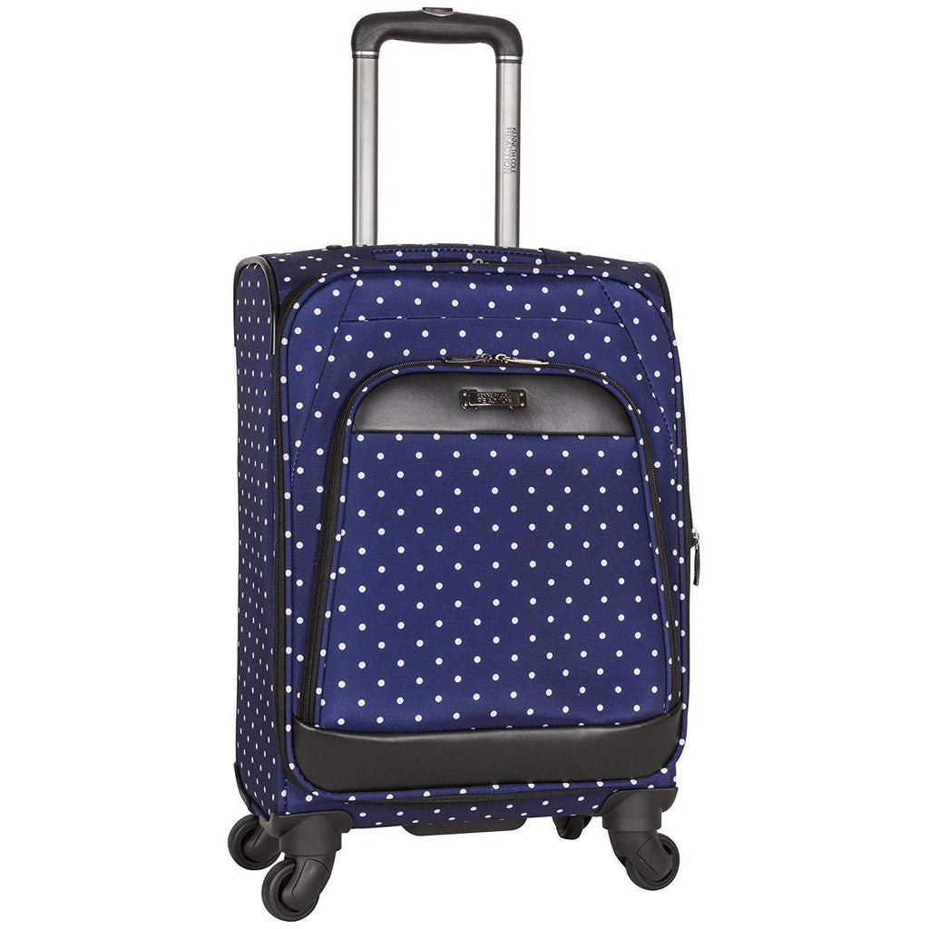"KENNETH COLE REACTION-KENNETH COLE REACTION Dot Matrix 20"" Lightweight Expandable 4-Wheel Spinner Carry-On Luggage, Navy/White Polka-bags-packs.com"