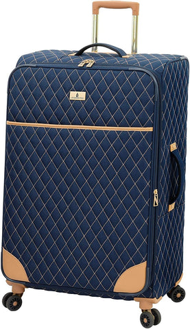 London Fog-London Fog Queensbury 28 Inch Expandable Checked Spinner Luggage-bags-packs.com