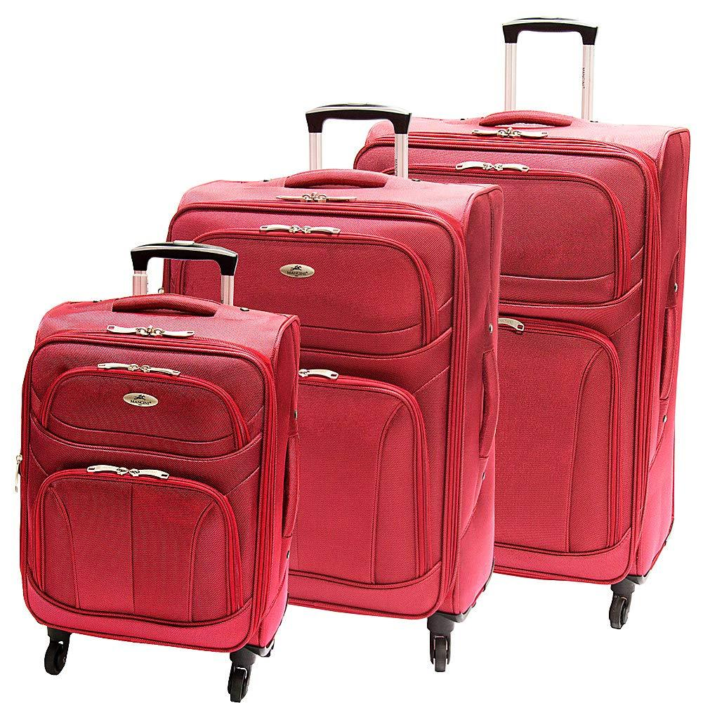 Mancini Leather Goods-Mancini Leather Goods FeatherLite 3 Piece Expandable Spinner Luggage Set-bags-packs.com