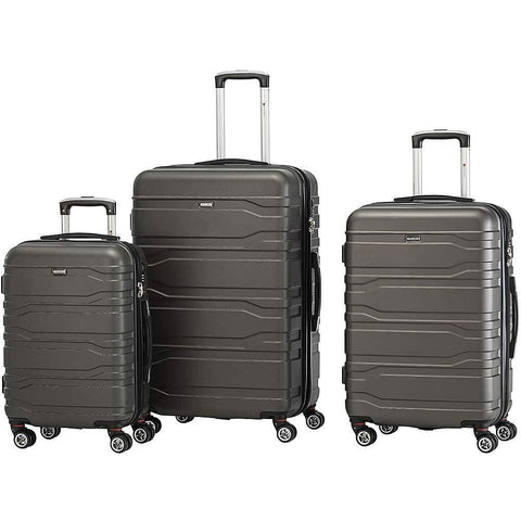 Mancini Leather Goods-Mancini Leather Goods San Marino 3 Piece Lightweight Hardside Spinner Luggage-bags-packs.com
