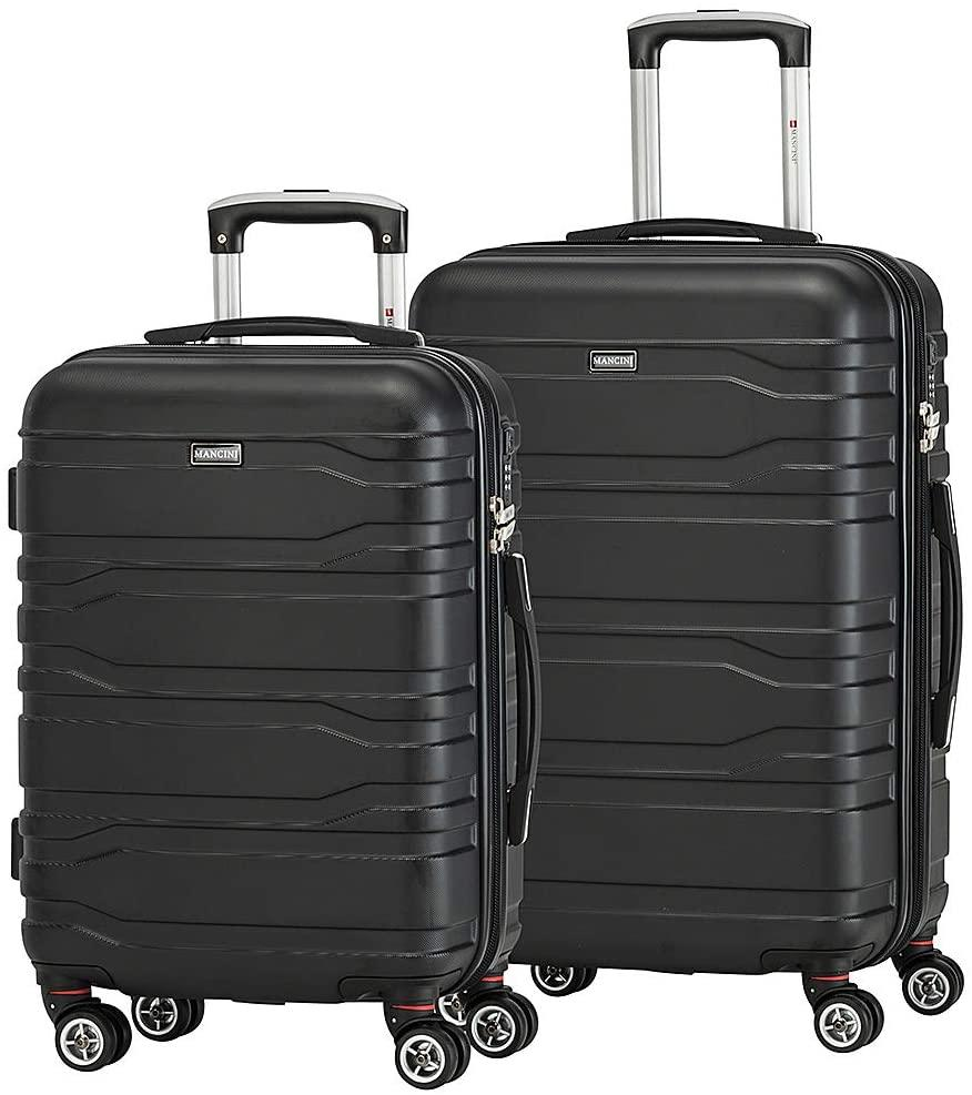 Mancini-Mancini Leather Goods San Marino Lightweight Spinner 2 Piece Luggage Set-bags-packs.com
