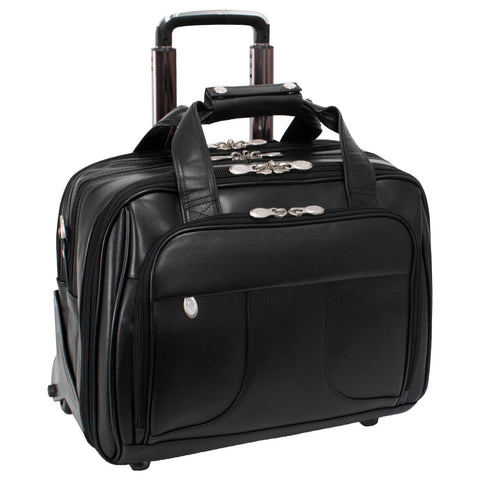 "MCKLEIN USA-MCKLEIN USA CHICAGO 15"" Leather Patented Detachable -Wheeled Laptop Overnight with Removable Briefcase-bags-packs.com"