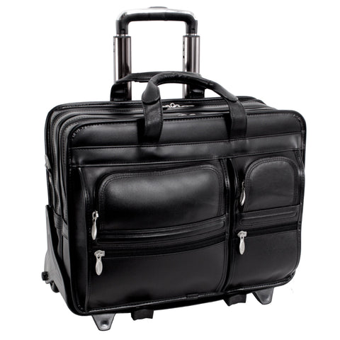 "MCKLEIN USA-MCKLEIN USA CLINTON 17"" Leather Patented Detachable -Wheeled Laptop Briefcase-bags-packs.com"