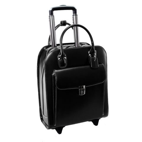 "MCKLEIN USA-MCKLEIN USA UPTOWN 15"" Leather Vertical Wheeled Ladies' Laptop Briefcase-bags-packs.com"