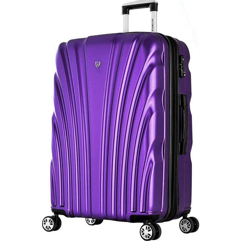 "Olympia USA-Olympia USA Vortex 24"" Expandable Hardside Checked Spinner Luggage (Purple)-bags-packs.com"