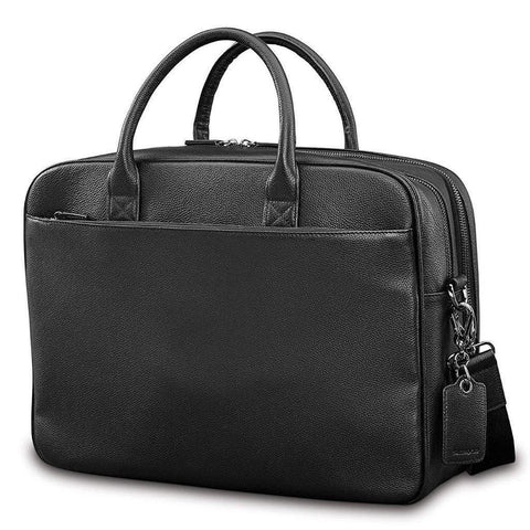 SAMSONITE-SAMSONITE Mens Leather Classic Double Compartment Briefcase-bags-packs.com