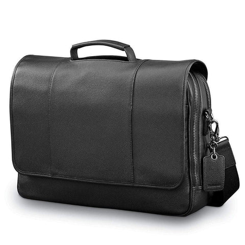 SAMSONITE-SAMSONITE Mens Leather Classic Flap Briefcase-bags-packs.com