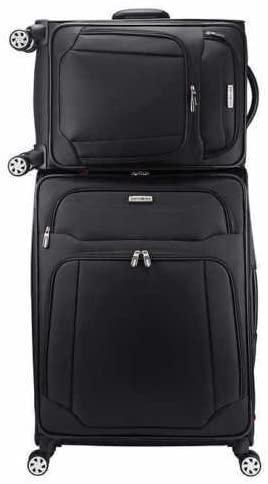 Samsonite-Samsonite StackIt 2-Piece Softside Spinner Luggage Set (Black)-bags-packs.com