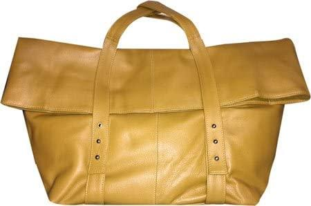 SHARO Genuine Leather Bags-Deleite 05 Mustard Yellow Oversized Clutch Handbag By Sharo-bags-packs.com