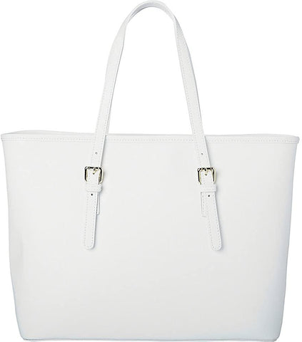 Sharo Leather Bags-Sharo Leather Bags Classic Italian White Leather Handbag Tote-bags-packs.com