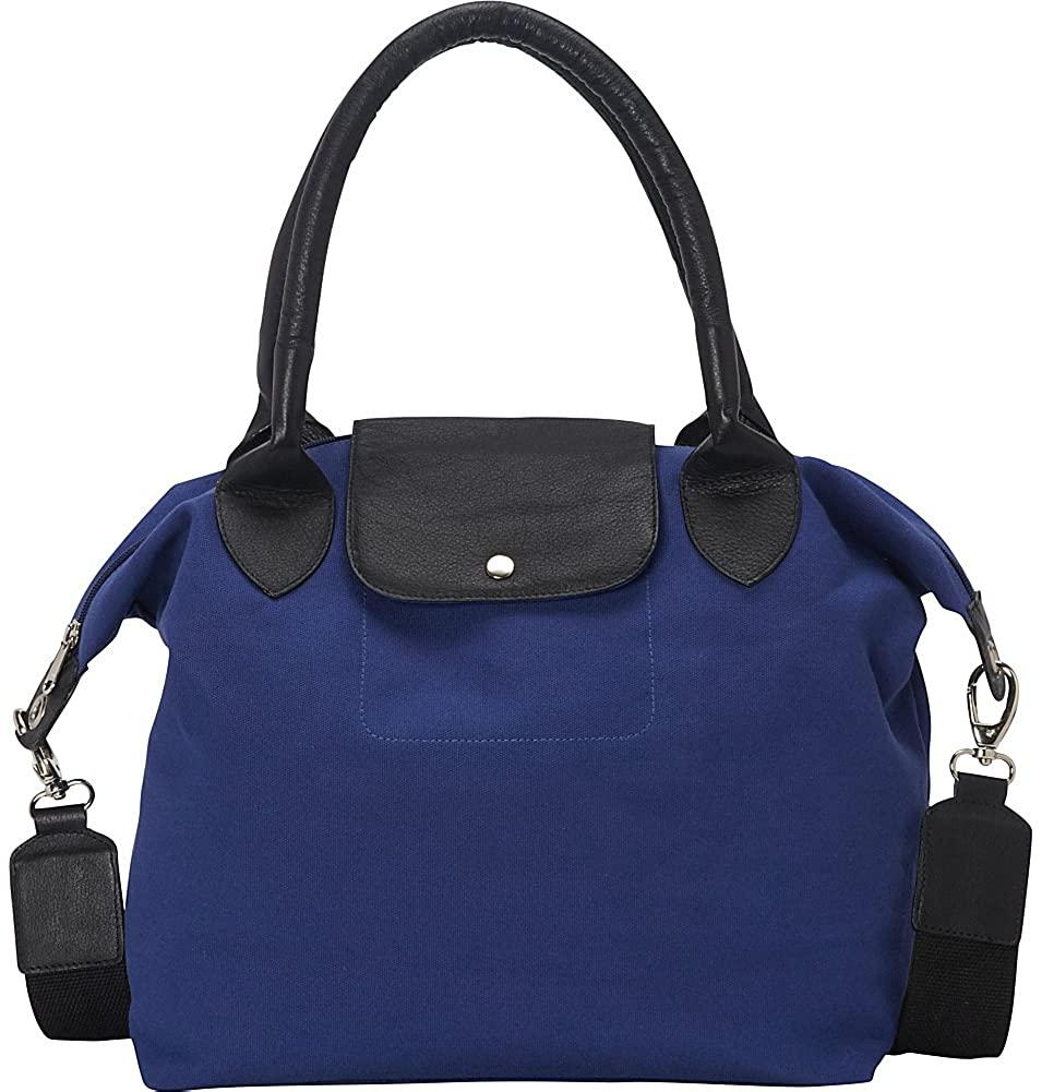Sharo Leather Bags-Sharo Leather Bags Royal Blue and Black Canvas Leather Large Tote Handbag-bags-packs.com