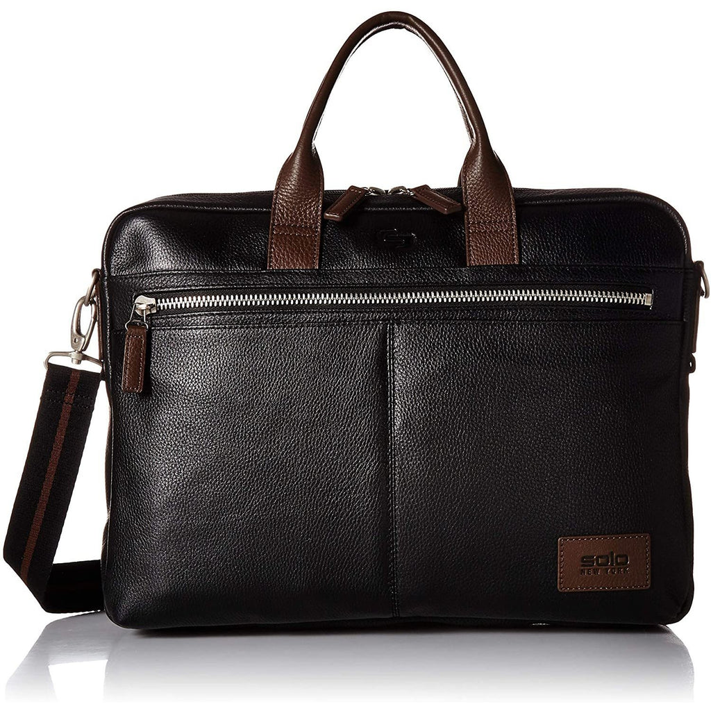 SOLO-Solo Shorewood Pebbled Leather Briefcase-bags-packs.com