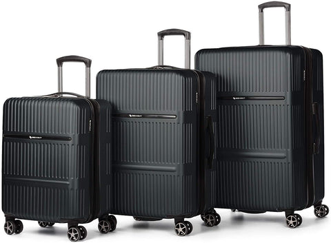 SWISS MOBILITY-Swiss Mobility Highway Hardshell Luggage, ABS/Polycarbonate Plastic (Charcoal, Set)-bags-packs.com