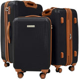 Trochi-Trochi Lux-Tex 3 Piece Hardside Spinner Luggage Set (Black)-bags-packs.com