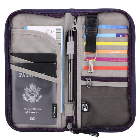 ZOPPEN-ZOPPEN Travel Wallet & Documents Organizer Zipper Case, RFID Blocking, 8 Colors-bags-packs.com
