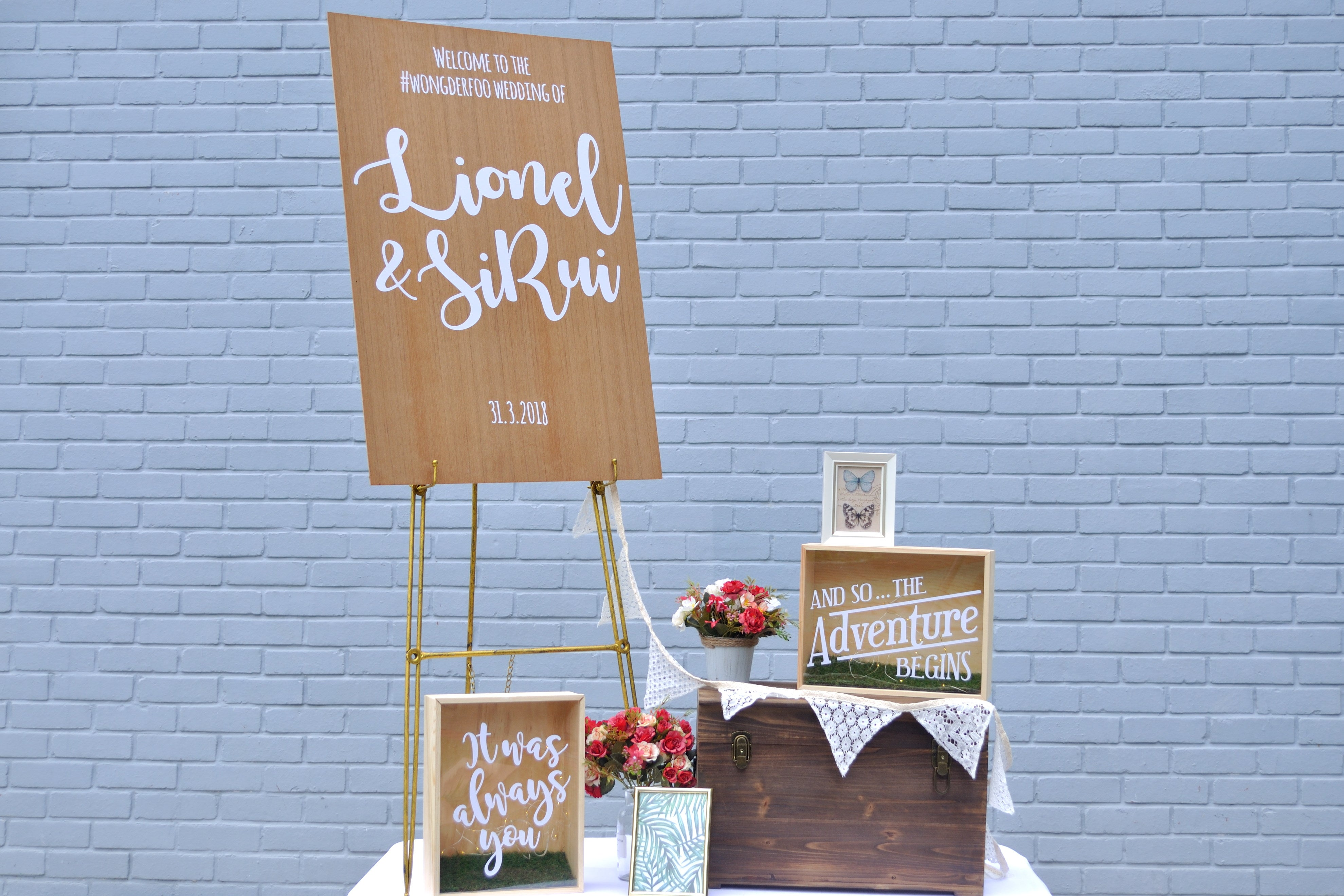 Woodland Rustic Welcome Signage Wedding Decorations Props Rental