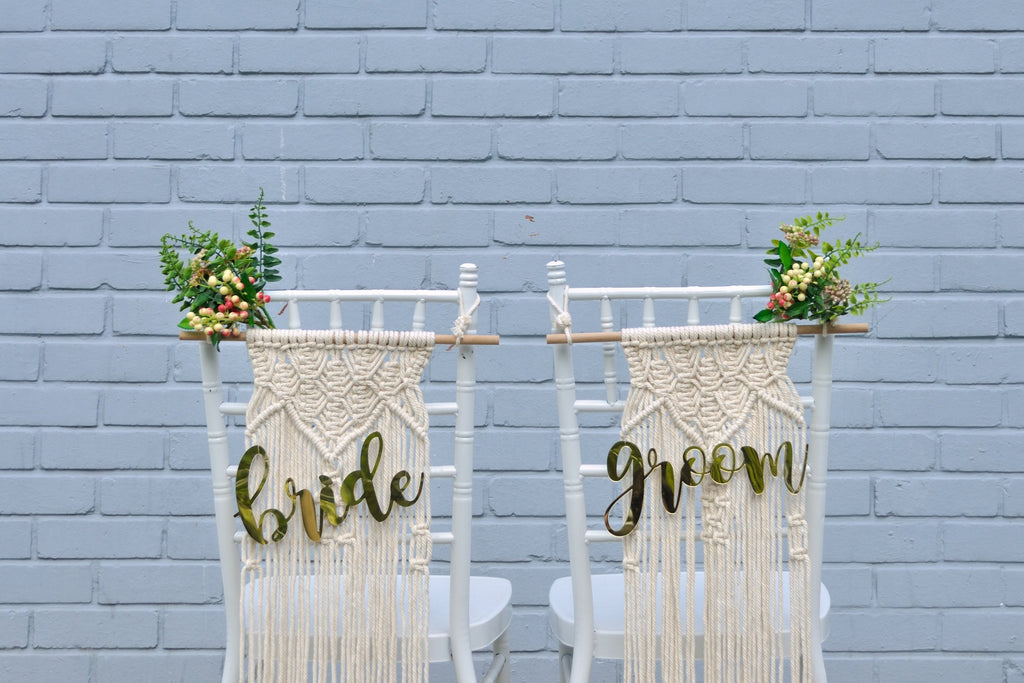 Macrame chair sign - Bride & Groom