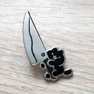 Knife Cat Pin - Black