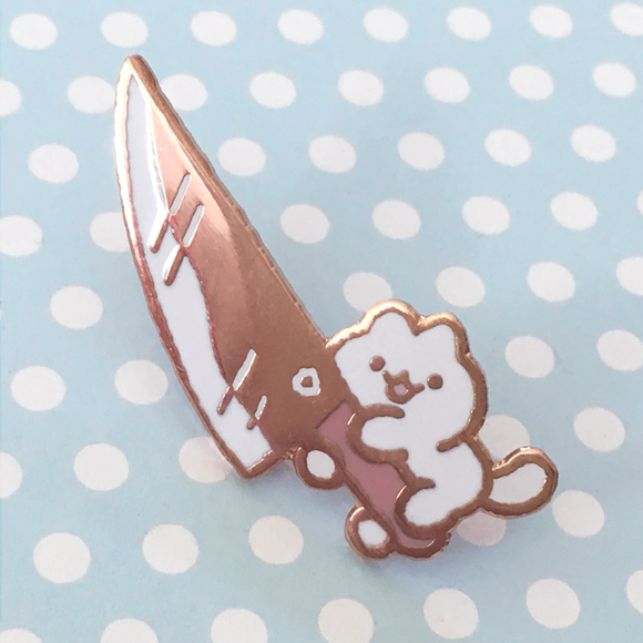 Knife Cat Pin - Rose Gold