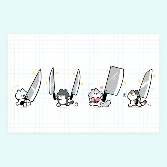 Knife Cats Print