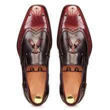 Load image into Gallery viewer, Slip-on Spectator in Burgundy & Grey - Manwalk Australia