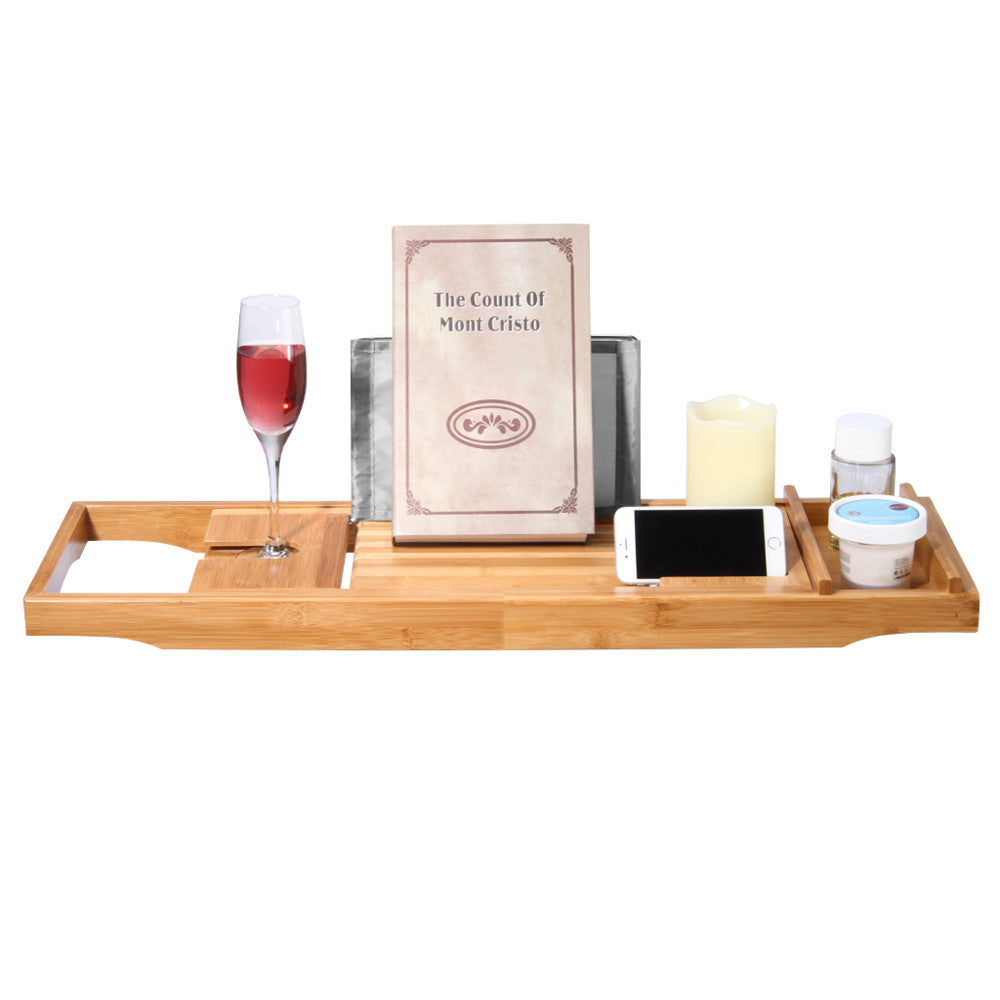 Natural Bamboo Bathtub Caddy Tray – Unique Gifts for Mom